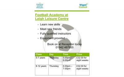 Get into Football at Leigh Leisure Centre