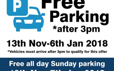 Free Parking after 3pm and on Sundays!
