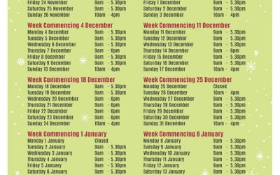 All our Festive Opening Times at a Glance