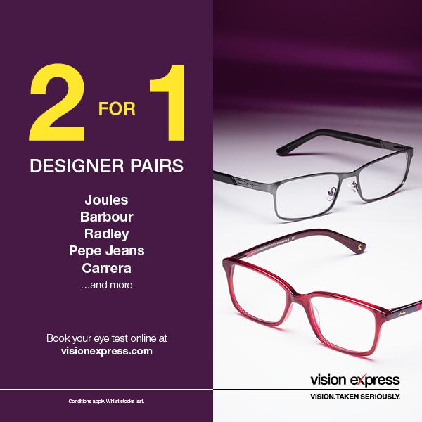 Designer 2 for 1 Frames at Vision Express | Spinning Gate Shopping ...