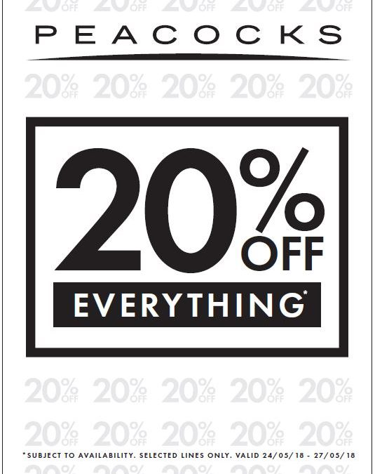 20% off at Peacocks