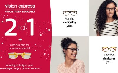 2 pairs of glasses for the price of 1 at Vision Express