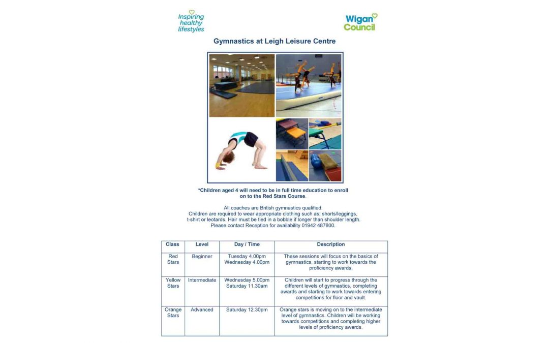 Get into Gymnastics at Leigh Leisure Centre