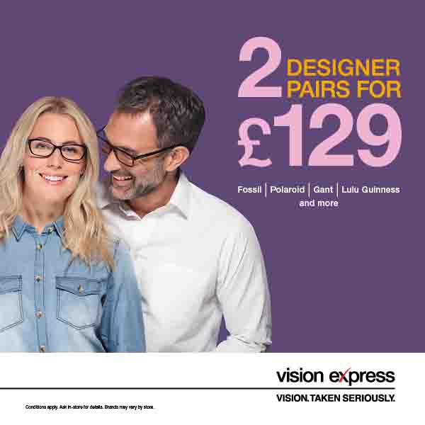 Great Offer on Designer Glasses at Vision Express