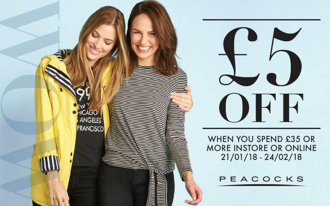 £5 discount at Peacocks