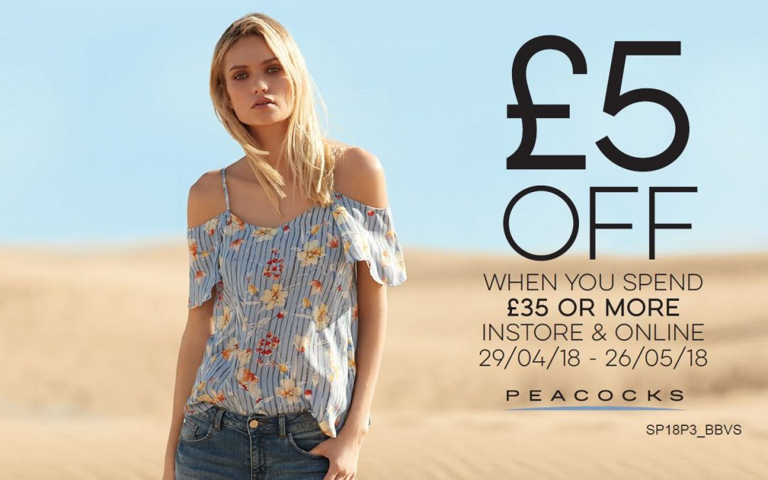 Get £5 OFF when you spend £35 or more at Peacocks