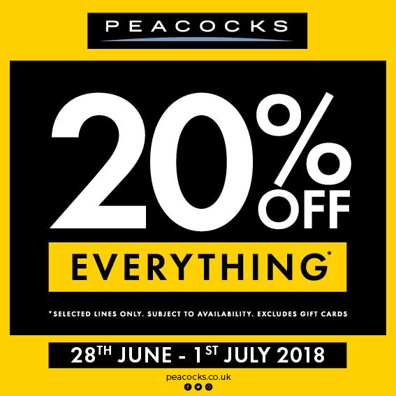 20% OFF at Peacocks