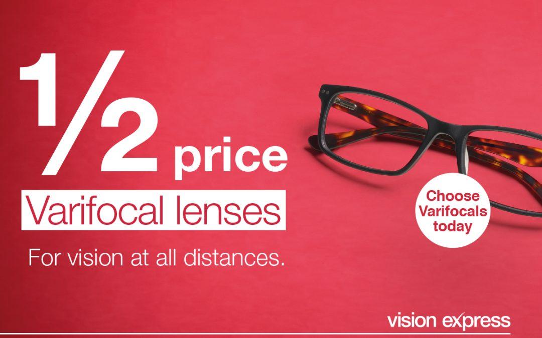 Half Price Varifocal Lenses at Vision Express