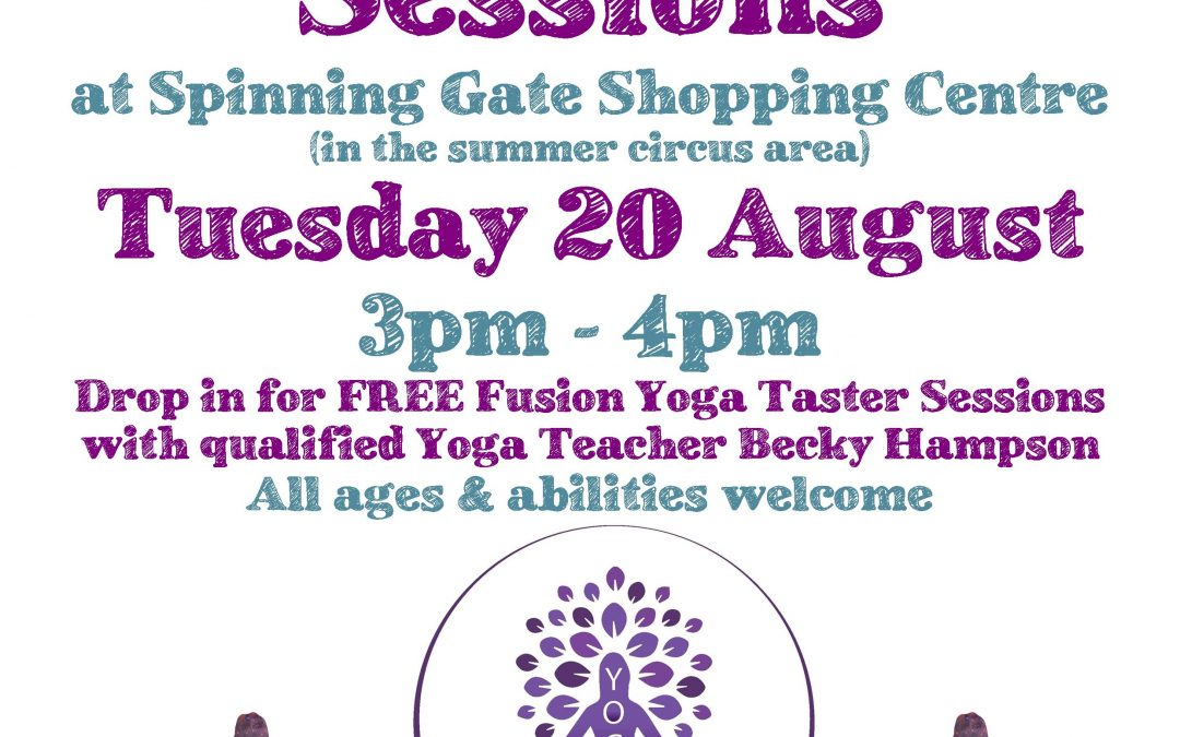Free Yoga Taster Sessions – Tuesday 20 August, 3pm – 4pm